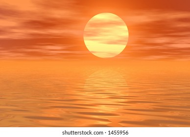 orange water and sky background