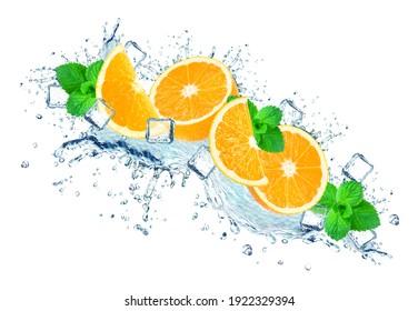 orange water splash and ice cubes isolated on white