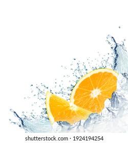 orange water splash and ice cubes isolated on white background