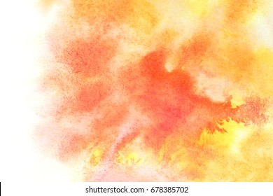 Orange watercolor stains with isolated edge -- abstract water color background