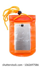 Orange waterproof mobile phone case isolated on white background. PVC zip lock bag protect mobile phone and important items from water. Concept for Songkran water festival in Thailand. Clipping path.