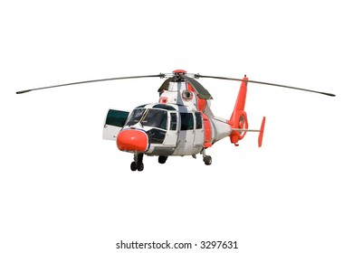 Orange and white chopper isolated on white background