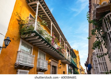 Orange and white colonial buildings in Cartagena, Colombia