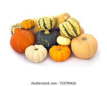 Orange, white and green Pumpkins collection isolated on white
