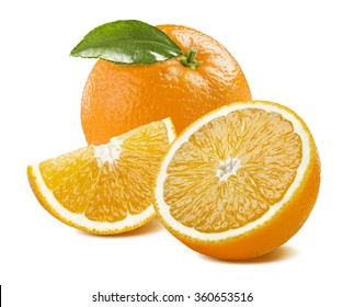 Orange whole with leaves, half and quarter composition isolated on white background as package design element