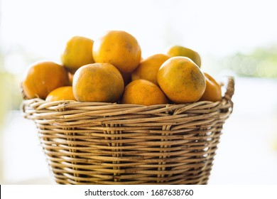 Orange in the wicker basket against blurred outdoor background for fruit and eating concept