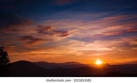 orange winter sunset sky