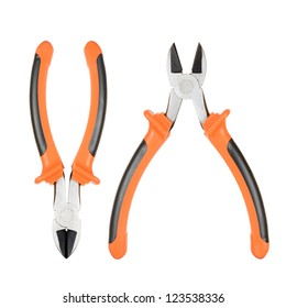 Orange wire cutter isolated on white background