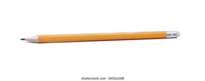 orange wooden pencil on a white background