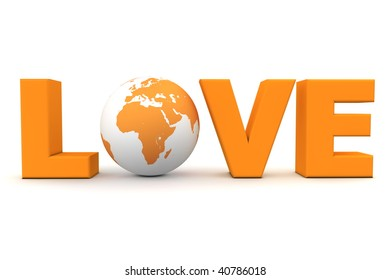 orange word Love with 3D globe replacing letter O