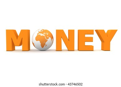 orange word Money with 3D globe replacing letter O