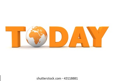 orange word Today with 3D globe replacing letter O