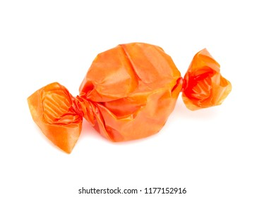 Orange Wrapped Candy on a White Background