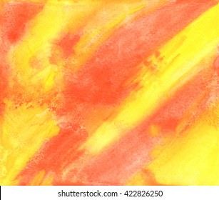 Orange and yellow abstract watercolor texture background. Hand paint texture, watercolor textured backdrop.