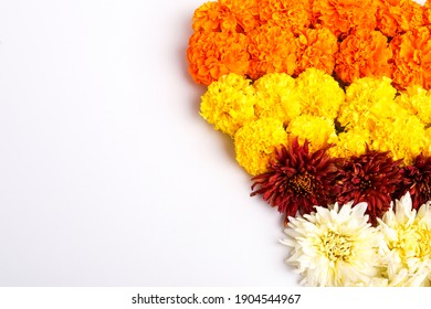 Orange and yellow Marigold Flower decoration for indian festival