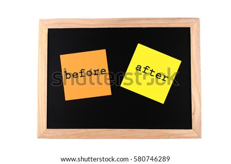 Orange Yellow Paper Before After Words Stock Photo (Edit Now ...