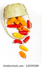 Orange, yellow and red bell peppers