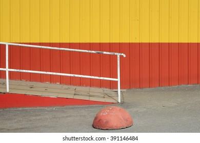 orange and yellow texture, ?etal wall,
