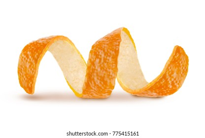 Orange zest peel spiral isolated on white, curl mandarin peel,Orange - Fruit, Lemon - Fruit, Grapefruit, Citrus Fruit, Coiled Spring