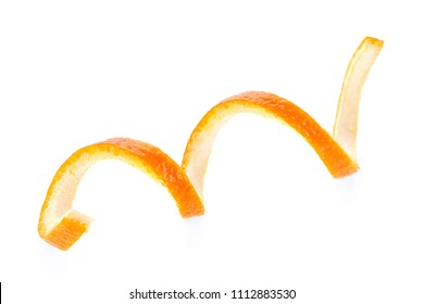 Orange zest spiral isolated on white background. Vitamin C.