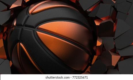 Orange-Black Basketball ball on cracked wall. 3D illustration. 3D high quality rendering.