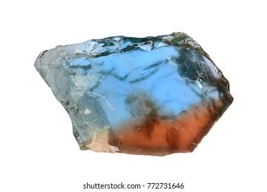 Orange-blue bicolor topaz from Volodarsk, Ukraine.