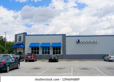 Orangeburg, South Carolina - May 13 2019: The Goodwill Store is a store which takes donated items and resells for profit to use to help underprivileged people.