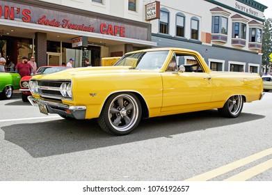 ORANGE/CALIFORNIA - APRIL 15, 2018: Classic Chevrolet Malibu El Camino  departs a gathering of classic car enthusiasts in the city of Orange, California USA