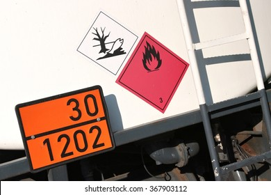 orange-colored plate with hazard-identification number 30 and UN-Number 1202 (gas oil or diesel fuel or heating oil, light)