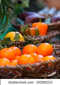 Oranges in basket