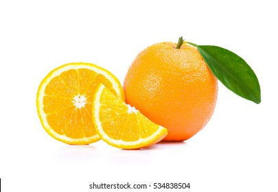Oranges fruit with leaf, slices of oranges isolated on white background