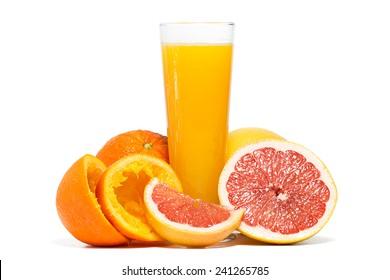 Oranges, grapefruit and orange juice isolated on white background.