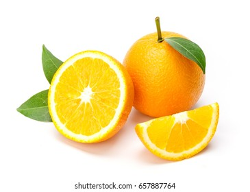 Oranges group freshly isolate on white background