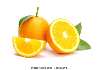 Oranges group freshly on a white background
