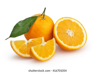 Oranges isolated on white background with clipping path