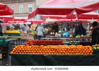 Oranges on display at Dolac Market in Zagreb, Croatia. Selective focus.