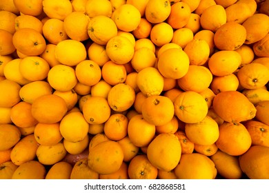 Oranges on display at a local market.