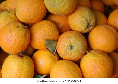 Oranges on display in a market stall, Mallorca, Spain