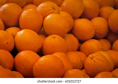 Oranges on a market stall in Harbour Town, Queensland, Australia. Full-frame, Background, Healthy Food