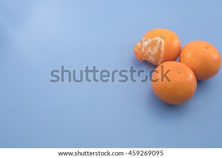 Oranges Over Lite Blue Backgroundhigh Angle Stock Photo Edit Now