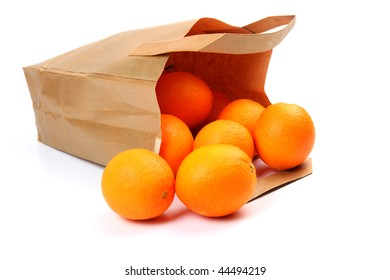 oranges and paper bag