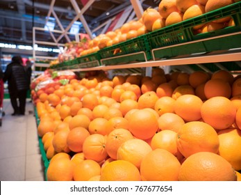 Oranges for sale at the supermarket