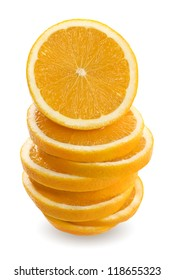 Oranges sliced and stacked