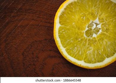 Orangeslice on a wooden board
