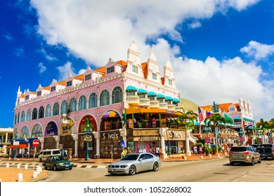 Orangestad, Aruba - FEBRUARY 15, 2018: Tipical building in Aruba painted with lots of yellow and pink colors