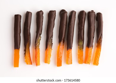 Orangette - candied orange zest coated in dark chocolate. Part of French cuisine.