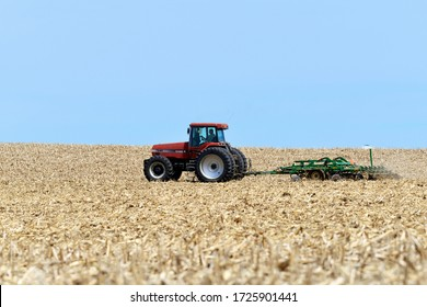ORANGEVILLE, ILLINOIS - May 2,2020: CASE 7240 tractor pulling a Great Plains 1500 cultivator