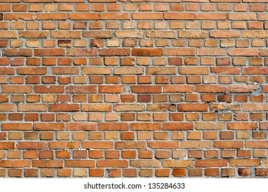 Orangey red brick wall background texture and pattern with alternating rows of long and short bricks