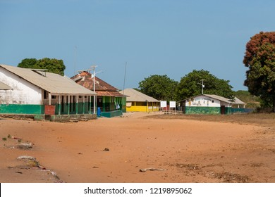 Orango Island, Guinea-Bissau - February 3, 2018:  View of the village of Eticoga in the island of Orango with the small school building and hospital.