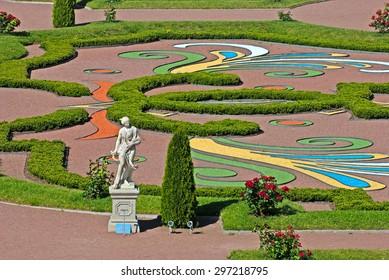 ORANIENBAUM, SAINT-PETERSBURG, RUSSIA - JULY 3, 2015: Summer Statue. Lower Garden in Oranienbaum Palace and Park Ensemble. It is the State Museum-Preserve and located near Saint-Petersburg